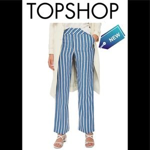 Top shop blue striped pants new with tags size